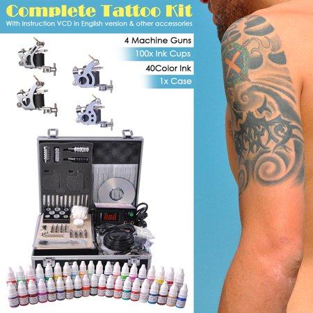 Yescom Professional Complete Tattoo Kit 4 Machine 40 Ink Power Supply ()