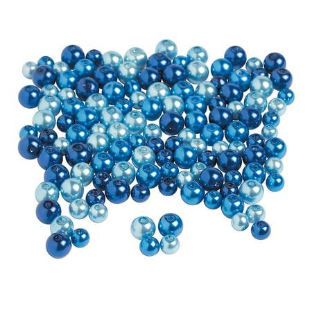 Fun Express - Blue Pearl Bead Asst - Craft Supplies - Adult Beading - Glass Beads - 200 Pieces