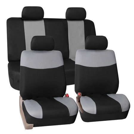 FH Group Modern Flat Cloth Full Set Seat Covers GRAY