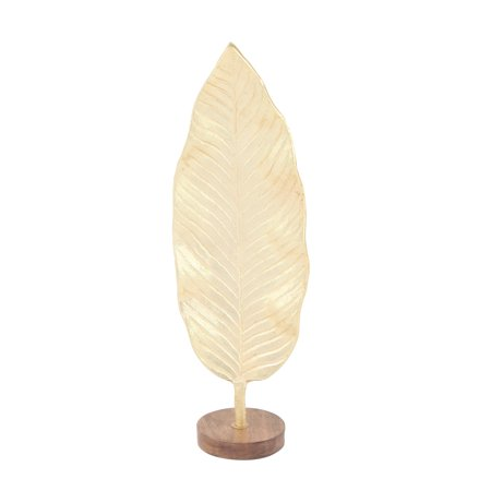 Decmode Contemporary 23 X 7 Inch Gold Metal And Brown Wood Leaf Sculpture