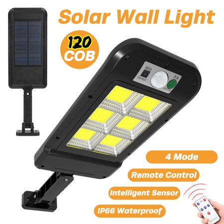 Stoneway 120 COB Solar Powered LED Street Lights Solar Area Lighting With Induction + Remote Control + PIR Motion Senor Waterproof IP65 Dusk To Dawns Wall Lamp For Outdoor/Garage/Courtyard/Garden