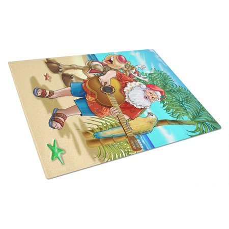 Beach Christmas Santa Claus Island Time Glass Cutting Board Large - Island Cutting Board