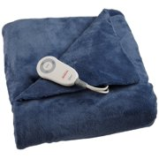 Sunbeam Electric Heated Throw Blanket Microplush Washable with 3-Heat Setting Auto-Off Controller,( Deep Blue)