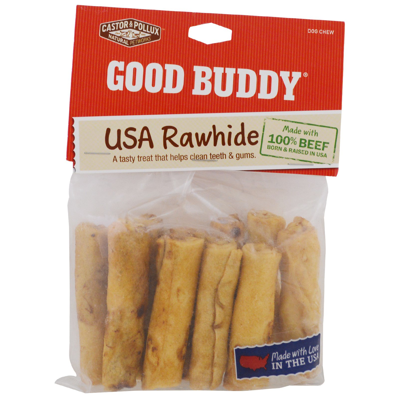 Castor & Pollux, Good Buddy, USA Rawhide, Chicken Flavored Roll, 10 Rolls, 2 in(pack of 2)