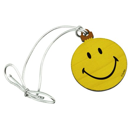 - Smiley Smile Happy Yellow Face Mini Small Tiny Wood Christmas Tree Holiday Ornament