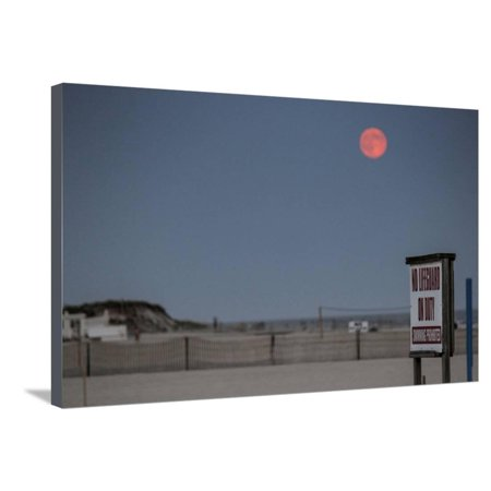 Super Moon and Lifeguard Sign Seen on Atlantic Beach on Long Island, NY Stretched Canvas Print Wall Art (Long Beach Ny Halloween Events)