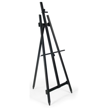 Floor Display Easel, Portable and Lightweight, Height-Adjustable Bars for Displaying Signs of Varying Sizes, Tripod Stand for Indoor Use - Black Aluminum (Best Easel Tripods)