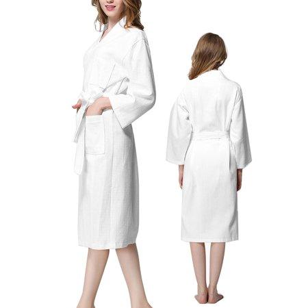 Coton Peignoir Nuisette kimono Femme Spa Ceinture Longueur Genou Robe blanc XL - image 7 de 7