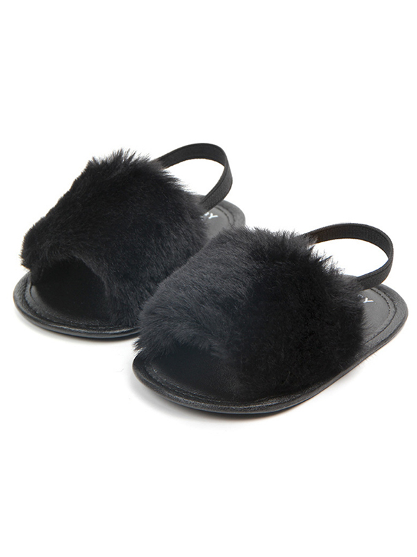 Tommyfit Baby Girl Fluffy Fur Soft Sole Crib Sandals Shoes