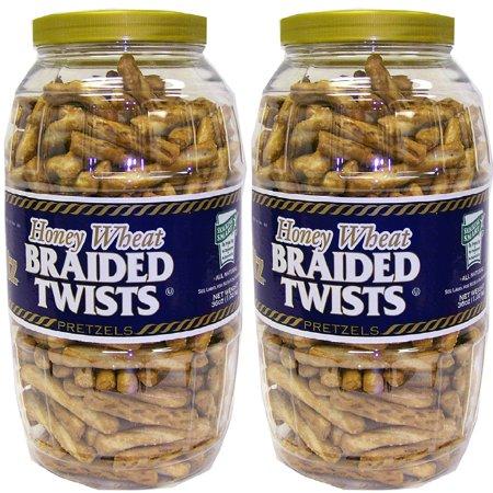 Product of Utz Honey Wheat Braided Twists Pretzel Barrels 56 oz. (2 pk.) - Pretzels [Bulk Savings]