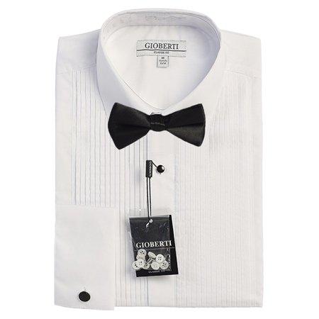 Gioberti Men's Long Sleeve Tuxedo Dress Shirt with Bow - Boys Tuxedo Shirt And Bow Tie