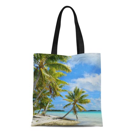 ASHLEIGH Canvas Tote Bag Pacific Tropical Palm Tree Sand Beach Island Nature Landscape Reusable Handbag Shoulder Grocery Shopping Bags