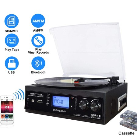 DIGITNOW! Bluetooth Record Player with Stereo Speakers, Turntable for Vinyl to MP3 with Cassette Play, AM/FM Radio, Remote Control, USB/SD Encoding,3.5mm Music Output (Best Stereo Turntable Cassette Cds)