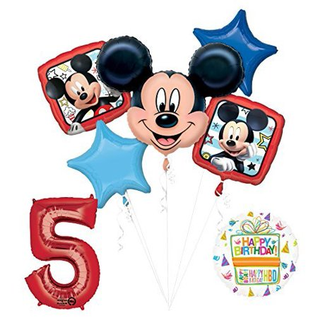 NEW Mickey Mouse 5th Birthday Party Supplies Balloon Bouquet Decorations - Cheap Mickey Mouse Party Supplies