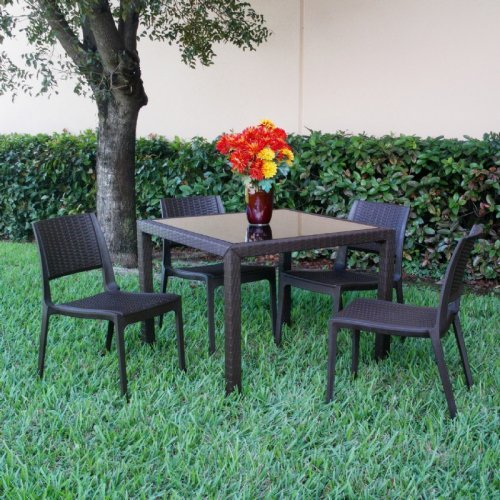 Compamia ISP992S-BR Miami Wickerlook 5 Piece Square Dining Set with Side Chairs - Brown