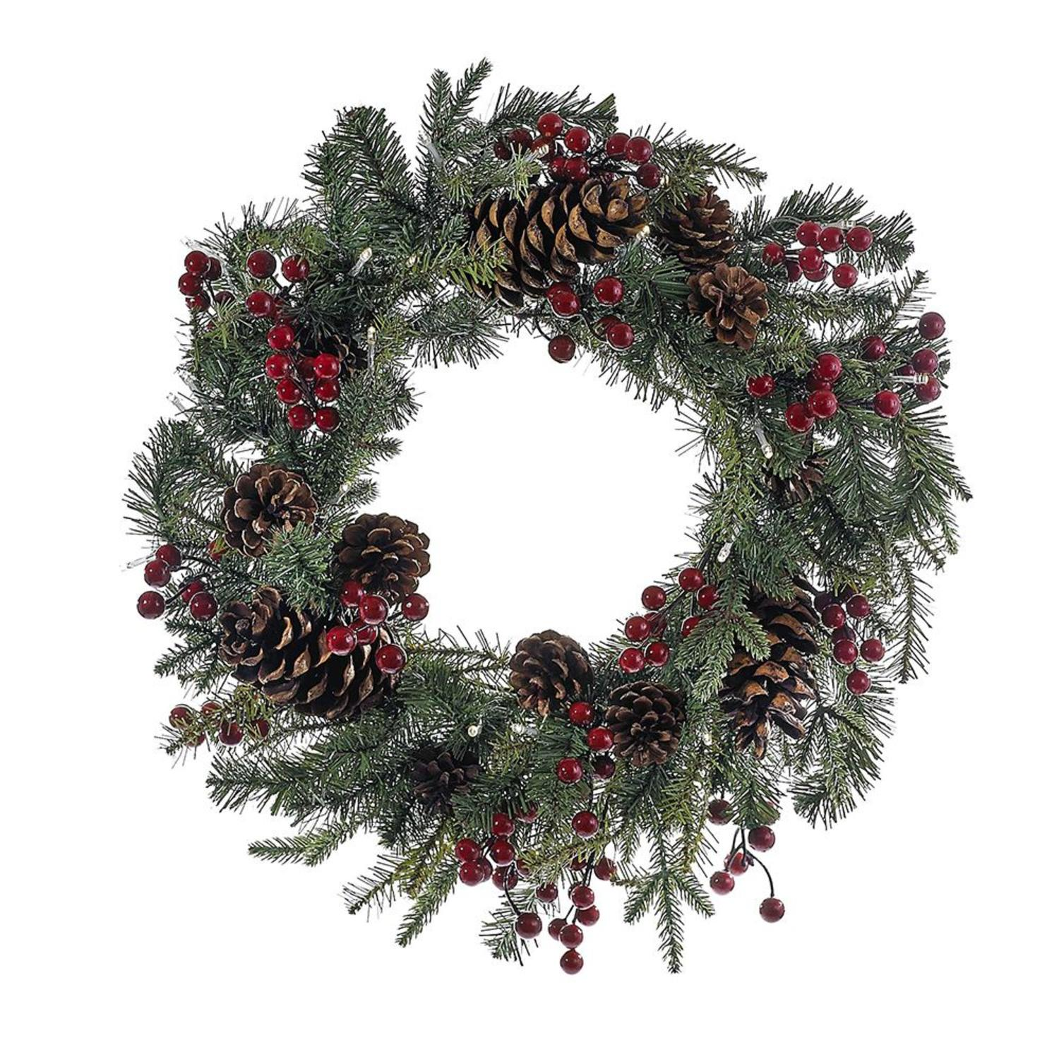 "24"" Green and Red Pre-Lit LED Berry Pinecone Indoor/Outdoor Wreath"