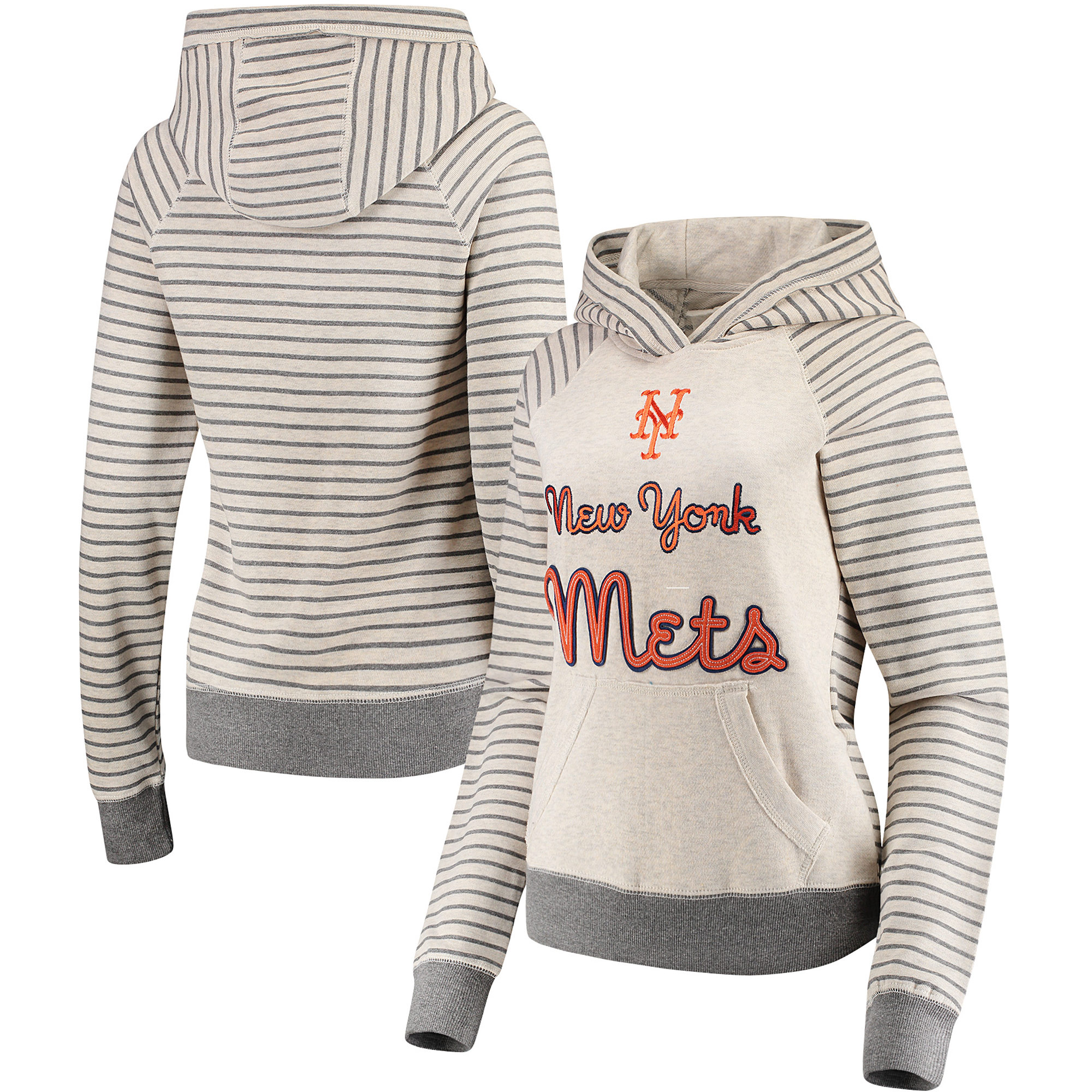 New York Mets Soft as a Grape Women's Bio Washed Stripe Sleeve Pullover Hoodie - Cream/Gray