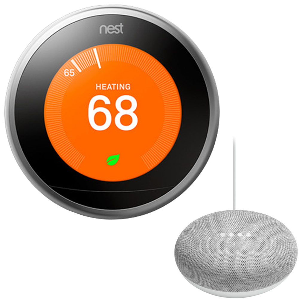 Nest Learning Thermostat - 3rd Gen - (Stainless Steel) T3007ES with Google Mini Home Smart Speaker with Google Assistant, Chalk