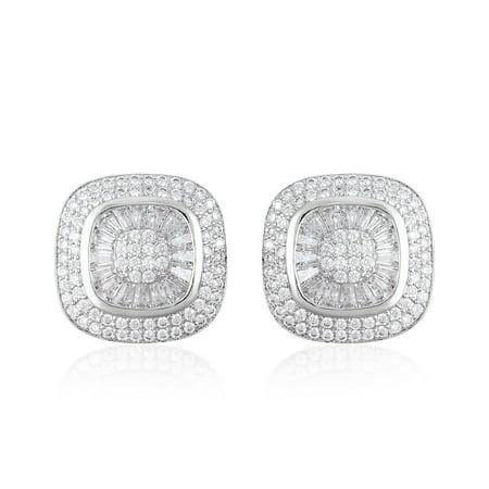 Cluster Earrings Baguette White Cubic Zirconia CZ  Silvertone Gift Jewelry for Women Ct 3.9