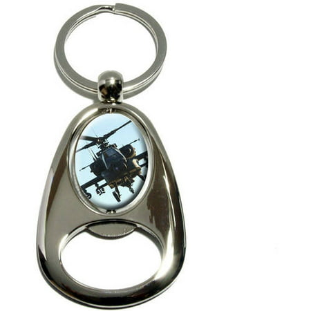 Apache Helicopter, Chrome Plated Metal Spinning Oval Design Bottle Opener Keychain Key - Apache Helicopter Decal