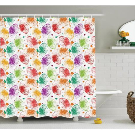 Elegant Shower Curtain Set Pattern With Colored Autumn Leaves And Blots Nature Seasonal Stylized Decorating