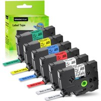 GREENCYCLE 6PK Compatible 12mm Black on Clear/White/Red/Blue/Yellow/Green TZ TZe-131 TZe-231 TZe-431 TZe-531 TZe-631 TZe-731 Laminated Label Tape for Brother P-touch PT-D210 D400 D600 Label Maker