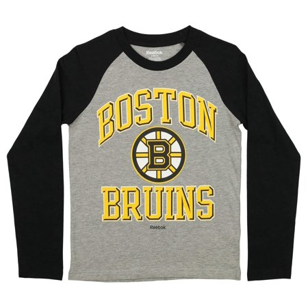 Reebok NHL Youth Boston Bruins Raglan Tee, Black/Grey ()