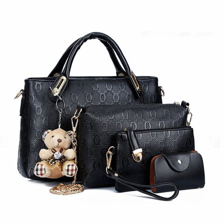 Meigar 4 PCS/Set Ladies Women Leather Handbag Shoulder Bag Satchel Clutch Purse Tote
