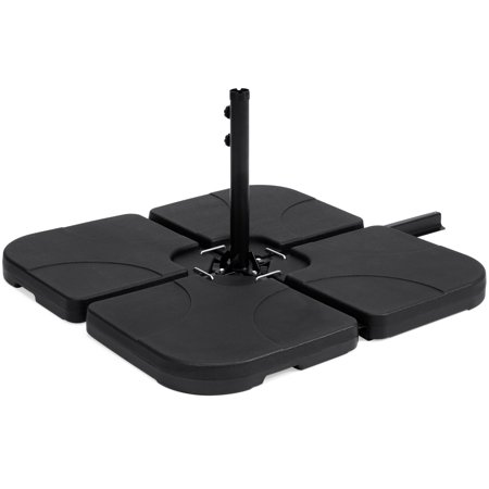Best Choice Products 4-Piece Heavy-Duty Cantilever Offset Patio Umbrella Stand Square Base Plate Set w/ Easy-Fill Spouts for Water or Sand  - (Black Aluminum Patio Base)