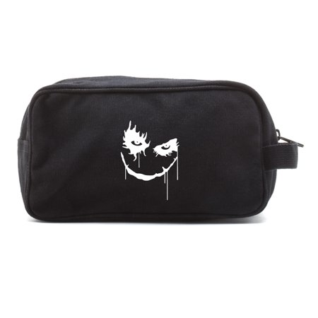 The Joker Face Canvas Dual Two Compartment Travel Toiletry Dopp Kit Bag - Joker And Two Face