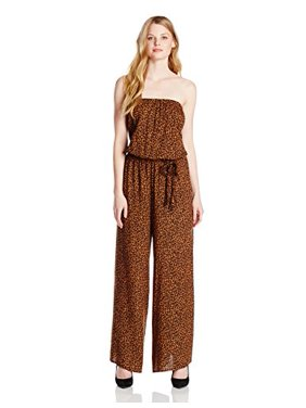 MSK Women's Strapless Animal Print Jumpsuit, Brown, Medium
