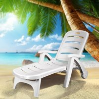 Costway Adjustable Folding Patio Chaise Deck Chair Lounger 5 Position Recliner w/ Wheels