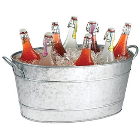 Benzara Galvanized Beverage Tub With Handles, Gray ()