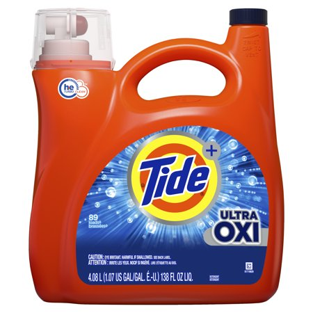 Tide Ultra Oxi Liquid Laundry Detergent, 89 Loads 138 fl oz