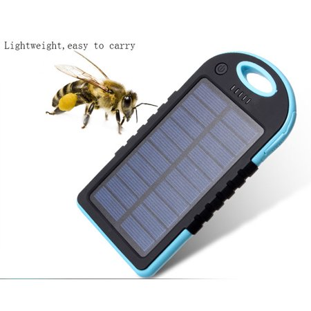 2 In 1 Solar Powered Power Bank Waterproof Dustproof Shockproof Dual Usb Output Portable Solar Charger Blue