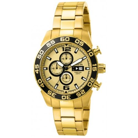 Men's 1016 II Collection Chronograph Gold Dial 18k Gold-Plated Stainless Steel Watch