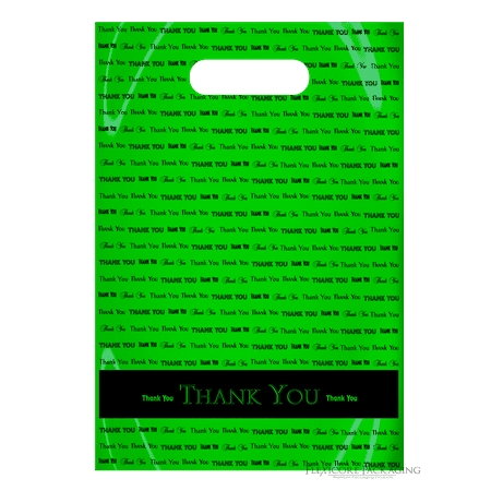 Lime Green Thank You Bags with handles, 9