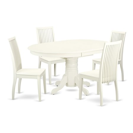 East West Furniture Avip7 Lwh W 7 Pc Dining Set With A Kitchen Table And 6 Wood Seat Kitchen Chairs In Linen White Finish Linen