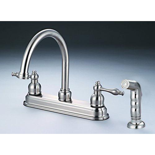 Hardware House Bismark 2 Handle Kitchen Faucet With Sprayer Finish Satin Nickel Walmart Com Walmart Com