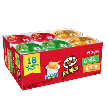 Pringles Original, Sour Cream & Onion, & Cheddar Cheese Potato Crisps Variety Pack, 12.9 Oz., 18 Count