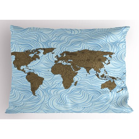 Modern pillow sham world map with wavy ocean lines and flower themed modern pillow sham world map with wavy ocean lines and flower themed continent icons artful image gumiabroncs Images