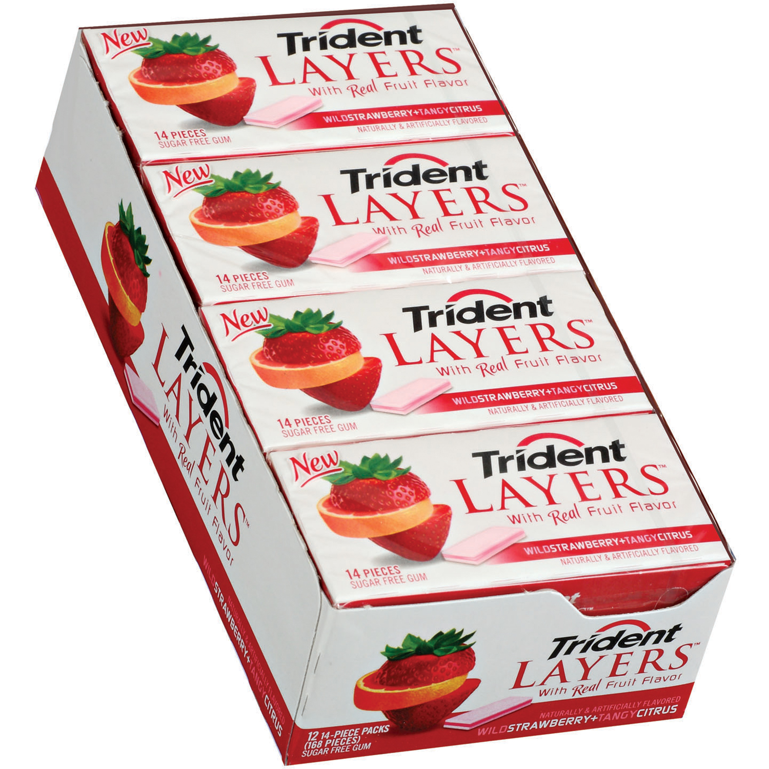 Trident Layers Gum Wild Strawberry/Tangy Citrus Sugar Free, 14 Piece Packs, 12 Ct