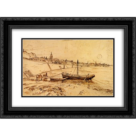 (Vincent van Gogh 2x Matted 24x18 Black Ornate Framed Art Print 'Bank of the Rhone at Arles')