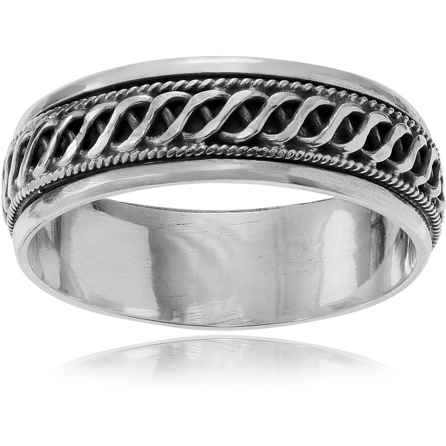 Brinley Co. Women's Sterling Silver Braid Spinner Fashion Ring