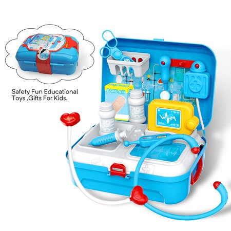 Doctor Kit for Kids, Pretend Medical Set Kids Toy Doctor Medical Playset Equipment 17Pcs School Classroom and Doctor Roleplay Costume Dress-Up Educational Doctor Toys for Toddler Boys