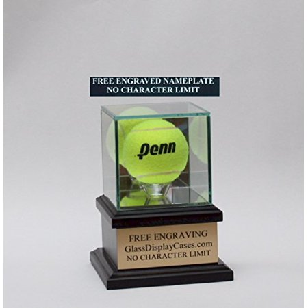 - Tennis Ball Personalized Real Glass Display Case with Black Hardwood Platform Base & Free Engraving