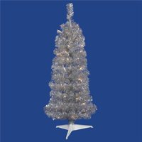 Silver Pencil Dura-Lit Christmas Tree with Clear Lights, 2 ft. x 11 in.