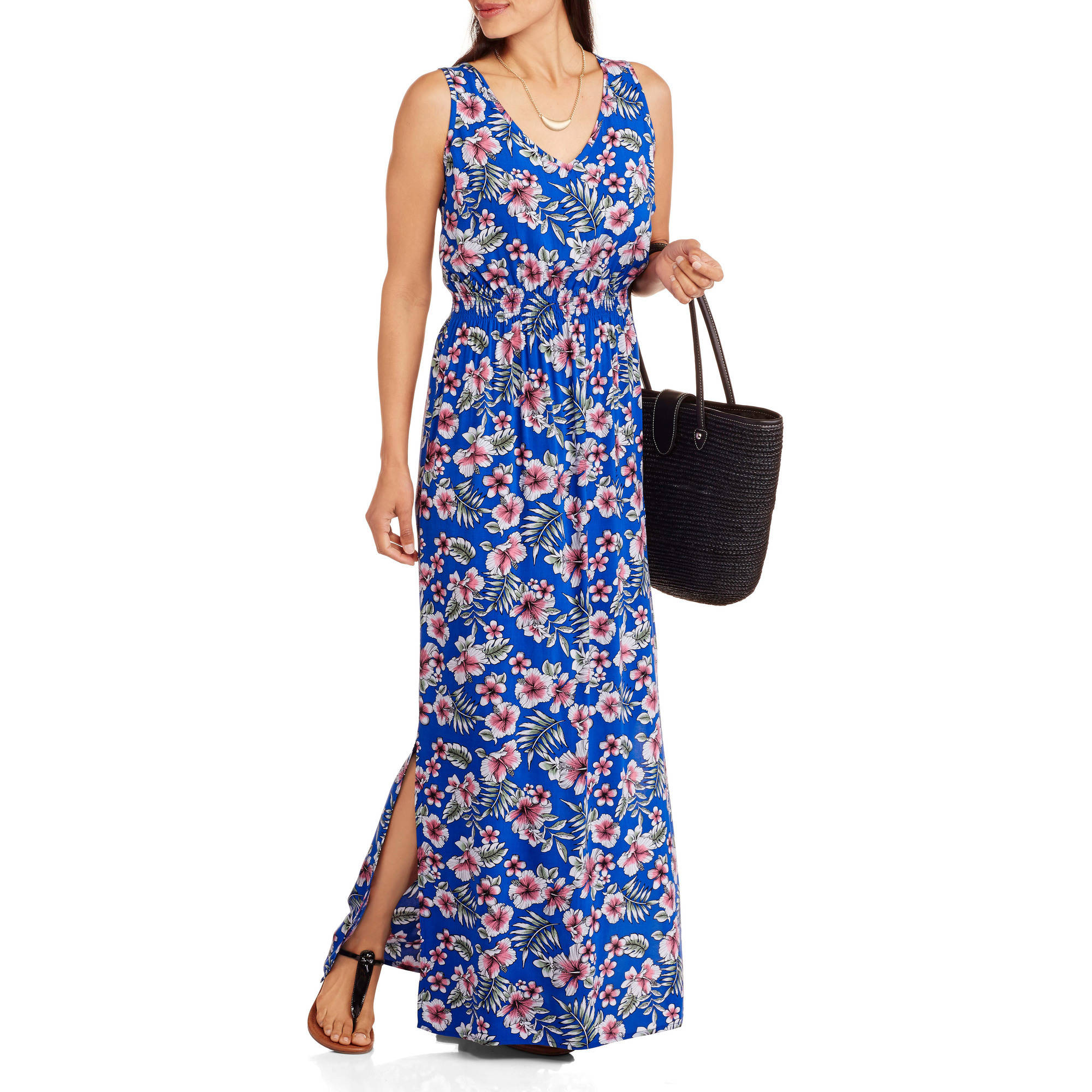 Ocean Pacific Women's V-Neck Maxi Dress with Smocked Waist