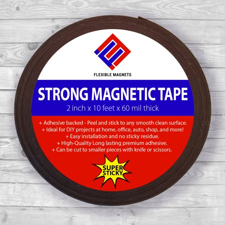 Flexible Magnetic Tape Roll with Adhesive Backing- Super Sticky! Superior Quality! By Flexible Magnets- 60 mil x 2 in x 10 (Flexible Magnetic Tape)