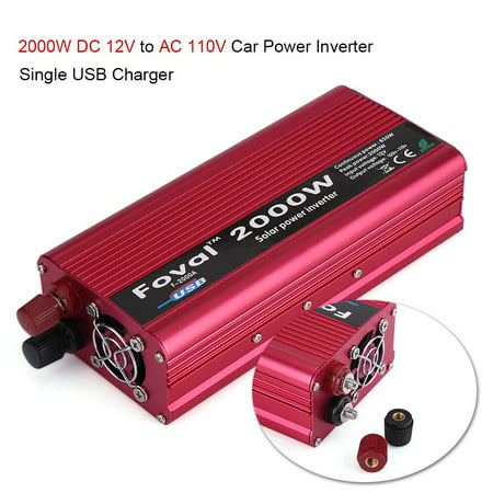 2000W DC 12V to AC 110V Power Inverter Converter W/ Dual Outlets for Home Car Outdoor (Ac To Dc Power Converter For Car Amp)